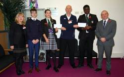 Some of St Mary's budding young scientists and engineers receive their double award.