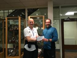 Tom Clarke (Head of PE) accepts his award for Boxercise Training